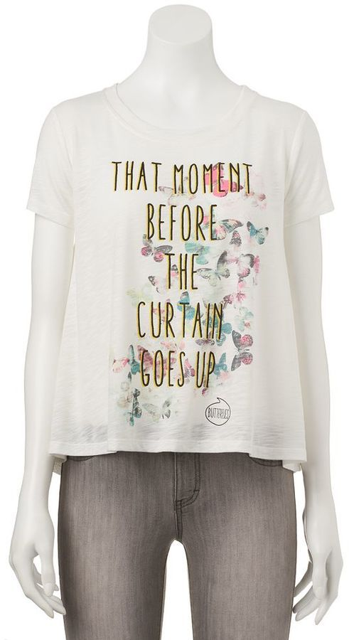 Juniors' Pop Up X AwesomenessTV Shine ''...Curtains Go Up'' Swing T-Shirt