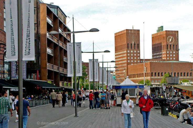 Oslo - The bustling Aker Brygge with City Hall