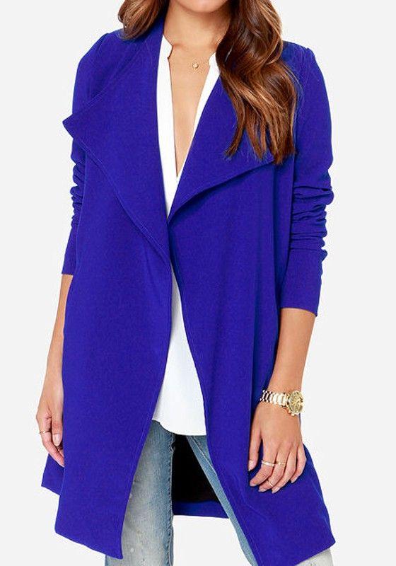 Love this Color Blue! Love this Design! Sapphire Blue Plain Long Sleeve Dacron Trench Coat