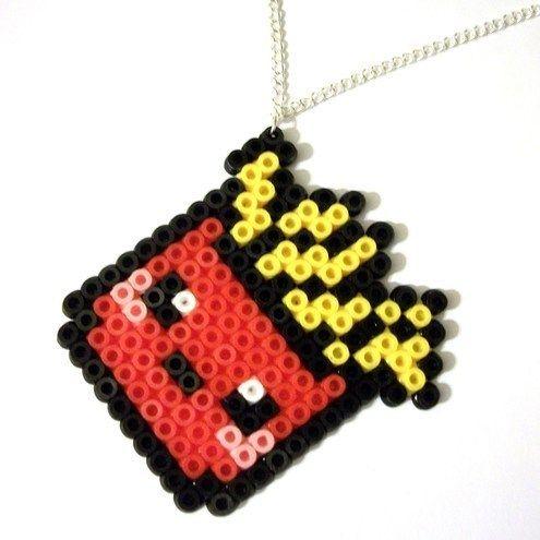 Kawaii Box Of Chips / Fries Hama Beads Necklace £4.99