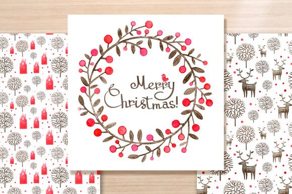 Check out Christmas Wreath watercolor card by Oodles Doodles on Creative Market