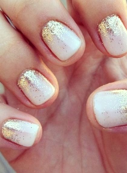 A hint of gold and neutral nails - Great nail design inspiration.                                                                                                                                                                                 More