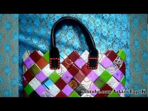 ▶ How to Make a Bag Out of flower wrapper - YouTube.