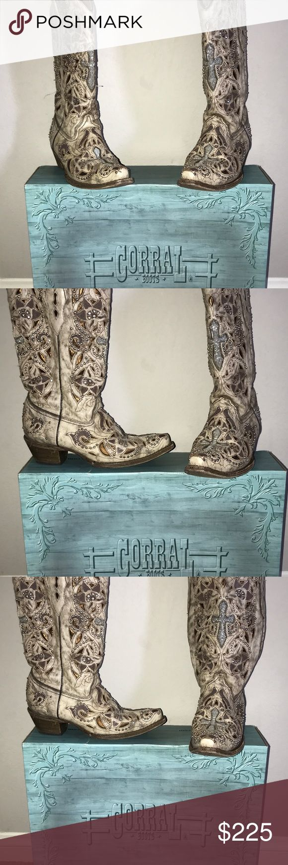 Corral Cowgirl Boots Corral Cowgirl Boots with Cross emblems corral Shoes Heeled Boots