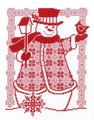 Redwork Snowman - Cross Stitch Pattern