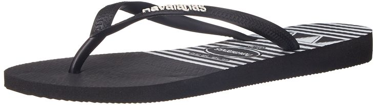 Havaianas Women's Slim Logo Stripes Flip Flop, Black, 41 BR/11-12 M US. The Slim logo stripes features a modern black and white geometric print on our signature textured footbed^A contrast Havaianas logo on a matte strap completes the look^Thong style^Cushioned footbed with textured rice pattern and rubber flip flop sole^Made in Brazil.