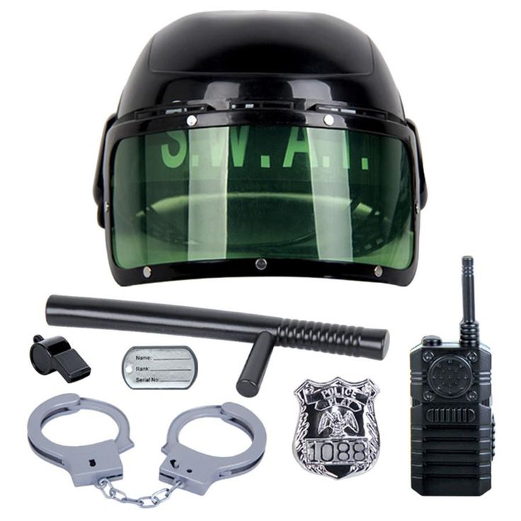 7Pcs/set kids toys Riot Police Hat Cosplay Kids Helmet Cop Handcuffs Walkie Talkie Badge Pretend Play House Toys for children