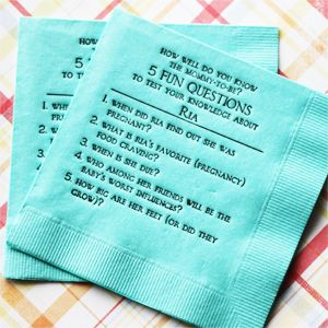 5 Fun Questions Baby Showers Napkins - 50 pcs... Use any color napkin and pring