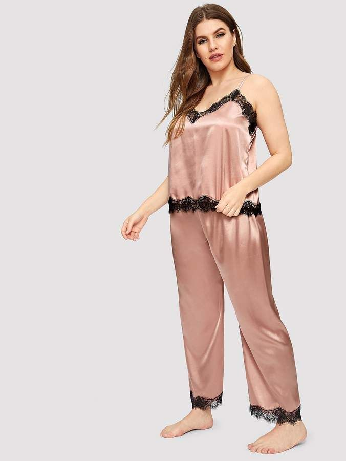 3eac2b0870 Shein Plus Eyelash Lace Satin Cami Pajama Set  Lace Eyelash Shein ...