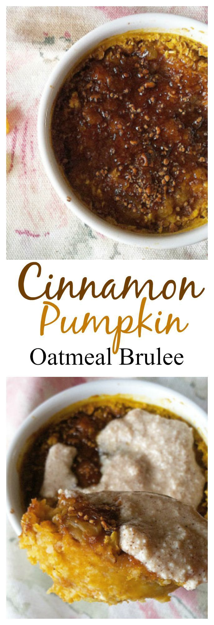 This Cinnamon Pumpkin Oatmeal Brûlée is the perfect #healthy breakfast that tastes like a dessert! #pumpkin #vegan