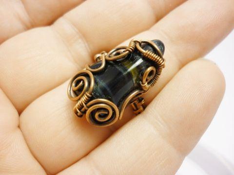 Sólyomszem gyűrű antikolt vörösrézzel, juditta, meska.hu