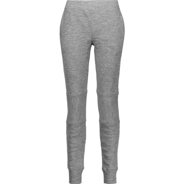 Belstaff Vic ribbed wool leggings ($350) ❤ liked on Polyvore featuring pants, leggings, grey pants, woolen leggings, grey leggings, pull on pants and elastic waist pants