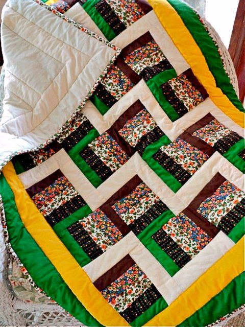 Quilted Rail Fence Lap Quilt  Baby Quilt  Sofa by DocksideDesigns