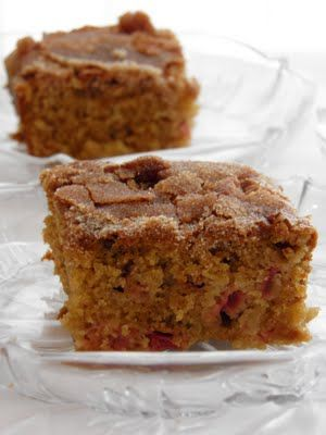 Grandma's Rhubarb Cake - sounds perfect now it's the rhubarb season! Got lots of rhubarb - now here is a thought.