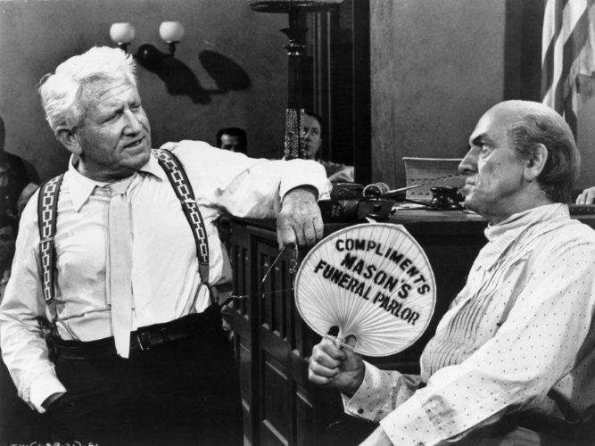"""""""Inherit the Wind"""" (1960). Spencer Tracy as the Clarence Darrow-based character and Frederic March as the William Jennings Bryan-based character"""