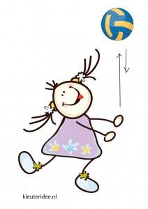 Bewegingskaart bal voor kleuters, gooien en vangen, kleuteridee.nl, free printable moving cards for preschool.