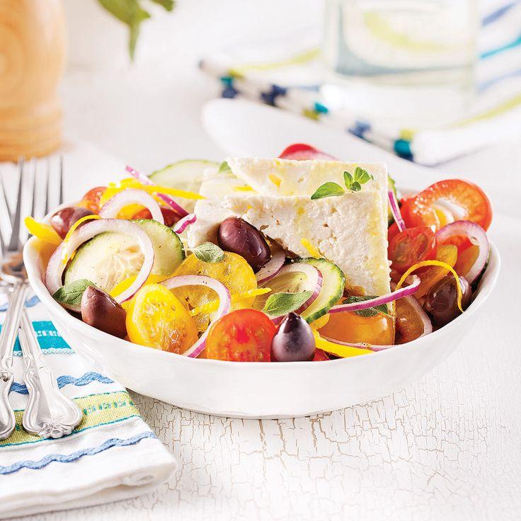 LA véritable salade grecque, emblème du pays bleu et blanc.