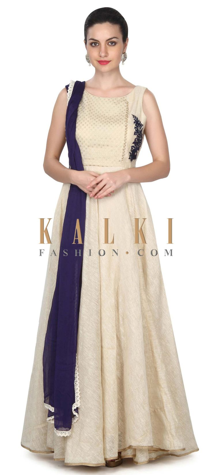 Buy this Beige anarkali suit in blue thread work in floral motif only on Kalki