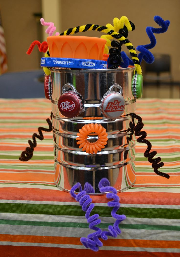 Make your own mini robot out of recycled materials like we for Projects made out of recycled items