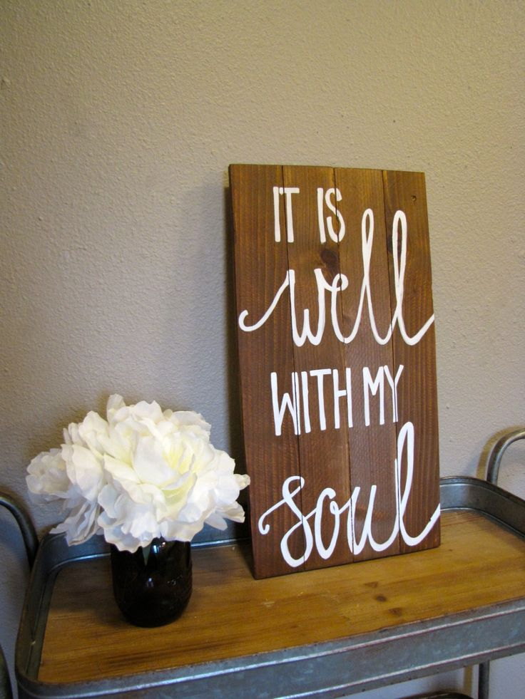 It Is Well With My Soul Wood Sign - Stained Wood Sign - Scripture Sign - Repurposed Wood Sign - Pallet Wood Art - Rustic Wall Decor by RestoreandSparkle on Etsy