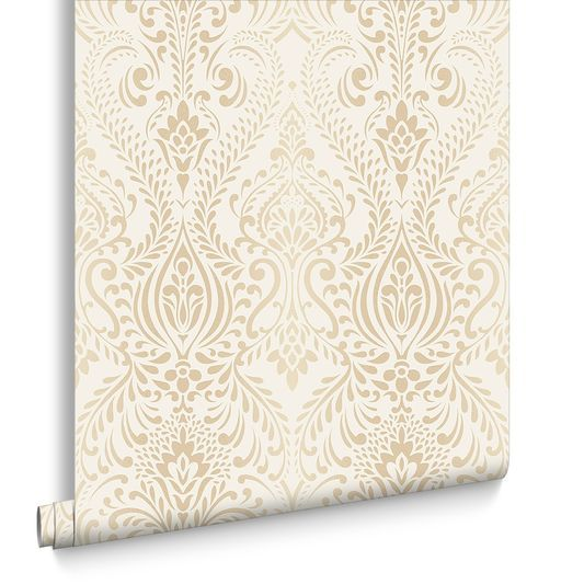 Glamour Damask Cream and Gold Wallpaper