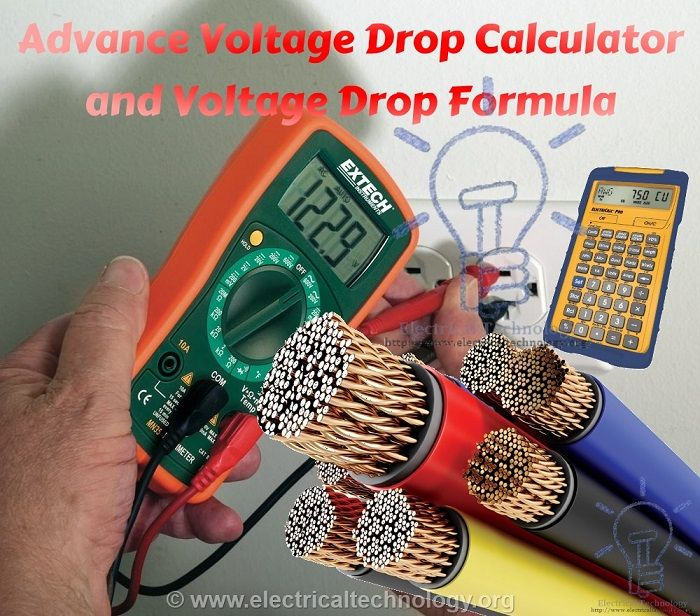Advance Voltage Drop Calculator and Voltage Drop Formula. Voltage drop calculation wire size calculator voltage drop formula calculation easy table for VDC. According to the NEC (National Electric Code) [210.19 A (1)] FPN number 4 and [215.2 A (3)] FPN number 2, the allowable Voltage drop for feeders is 3% and the acceptable voltage drop for final sub circuit and branch circuit is 5% for proper and efficient operation.