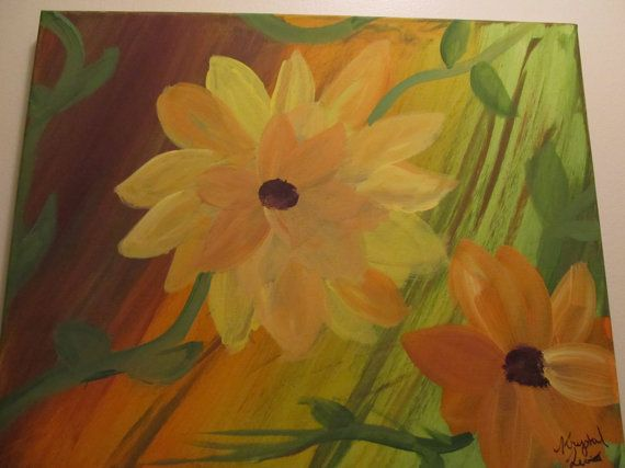 one of a kind Acrylic Sunflower painting by RandomWishes32 on Etsy
