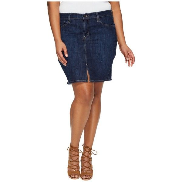 Levi's(r) Plus Icon Skirt (Moonside Coast) Women's Skirt ($45) ❤ liked on Polyvore featuring plus size women's fashion, plus size clothing, plus size skirts, plus size mini skirts, white leather skirt, a line leather skirt, straight skirt, leather zip skirt and zipper skirt