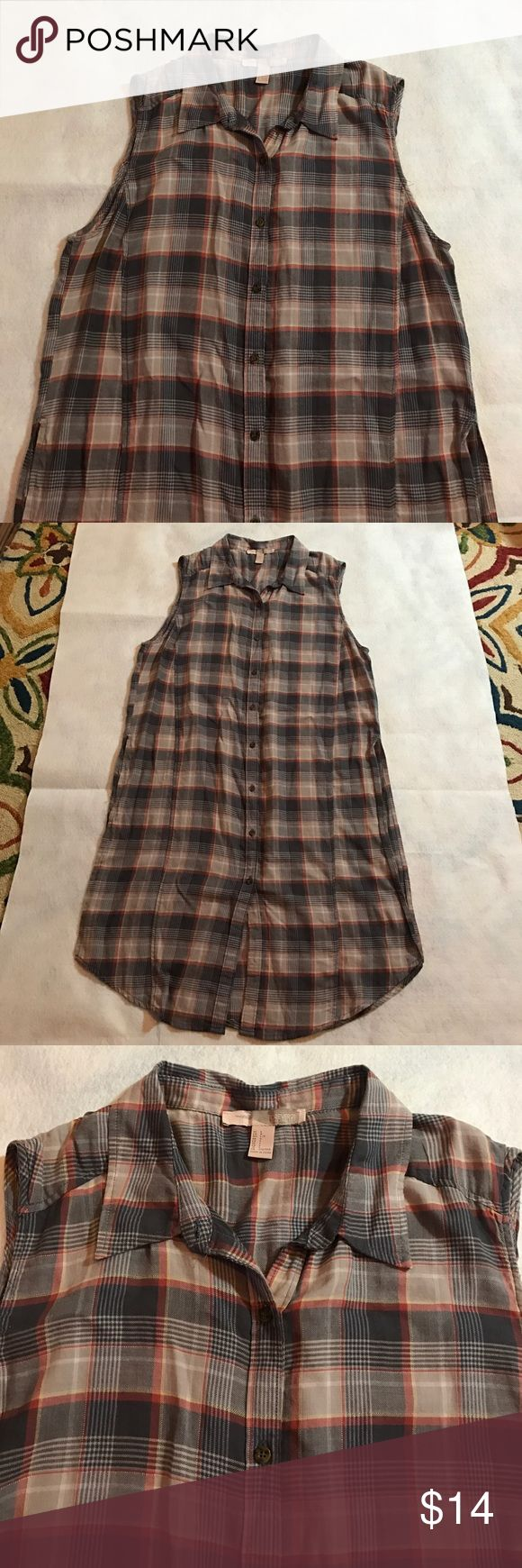 Long short sleeves neutral plaid shirt/tunic/dress Great little VGUC item that can be wore as s dress, shirt or tunic depending on your desired styling. Long slide slits for comfort and ease of wear. BRown, cream, red, yellow plaid. Soft light brushed cotton feel. Forever 21 Tops Button Down Shirts