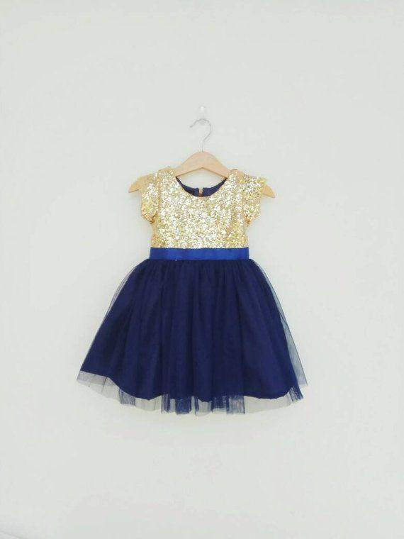 Flower Girl Dress Gold And Navy Girl Dress Tutu Girl Dresses Navy Blue Flower Gir Flower Girl Dresses Blue Gold Flower Girl Dresses Flower Girl Dresses Navy