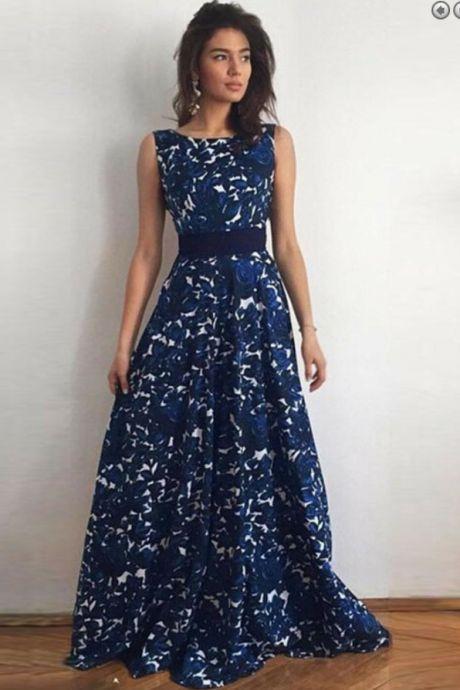 A-Line Bateau V-Back Dark Blue Lace Prom Dress with Sash