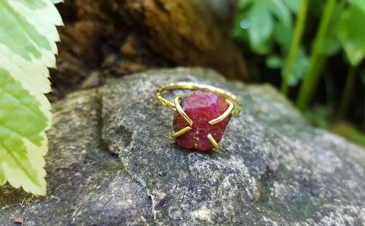Raw Ruby Ring ~ Boho Lux Raw Stone Engagement Ring ~ Skinny Gemstone Ring - Wife Birthday Idea, Brides Solitaire, Raw Wedding Ring by BlueWorldTreasures on Etsy