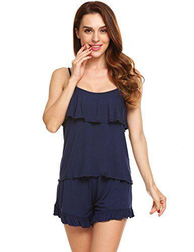 c9f6b62fc Womens Modal Ruffles Cami Set Sexy Sleeveless Pajama Sets Comfy Tank ...