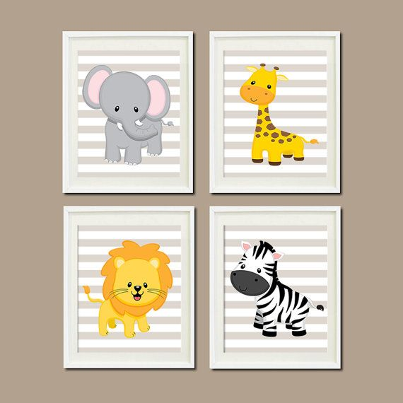 JUNGLE Nursery Wall Art ELEPHANT Giraffe Lion by LovelyFaceDesigns