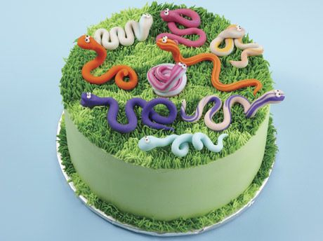 Slithering Snakes in the Grass cake, add red wagon topper, with a #1 candle, white happy birthday Kayson letters around sides, and exactly what I was thinking for his smash cake! good little tutorial on an informative decorating site