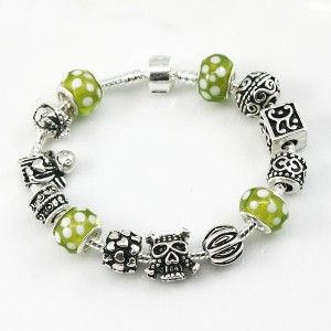 European Charms and Green Colored Glaze Beads Pandora Style Bracelet