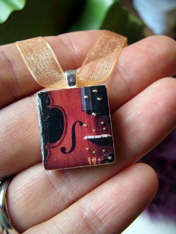 193 best hand painted pendants images on pinterest painted rocks scrabble tile pendant violin scrabble piece charmscrabble tile jewelry necklace in hand mozeypictures Gallery