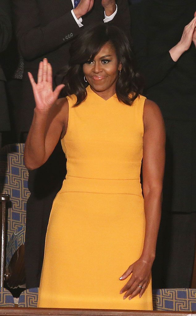 Michelle Obama Brightens Up the Room in a Narciso Rodriguez Dress for Her Final State of the Union Appearance  Michelle Obama