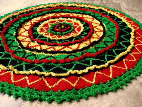 Viva Mexico!!! Stunning Vintage Crochet Large Round Pillow Cover, Cushion or Small Mat  by VintageHomeStories,