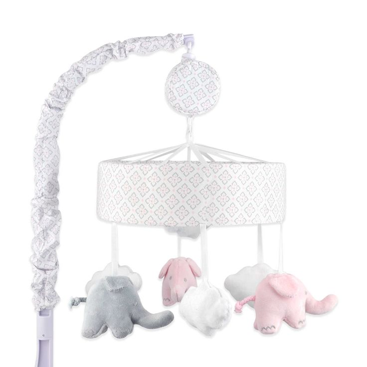 Just Born® Classic Bedding Collection Musical Mobile in Pink/Grey