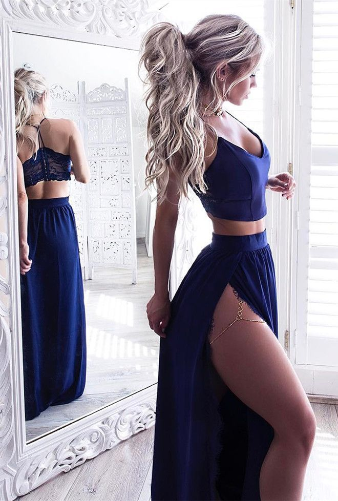 two piece prom dresses,sexy  prom dresses,split prom dresses,royal blue prom dresses,cheap prom dresses @simpledress2480