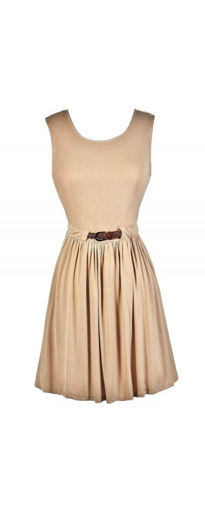 Always There For You Belted Dress in Taupe  www.lilyboutique.com