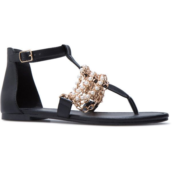 Shoedazzle Flat Sandals Rosella Womens Black Liked On Polyvore
