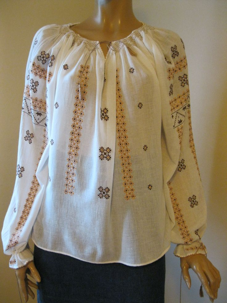 Vintage hand embroidered Romanian blouse size M/L - beige - brown  at www.greatblouses.com