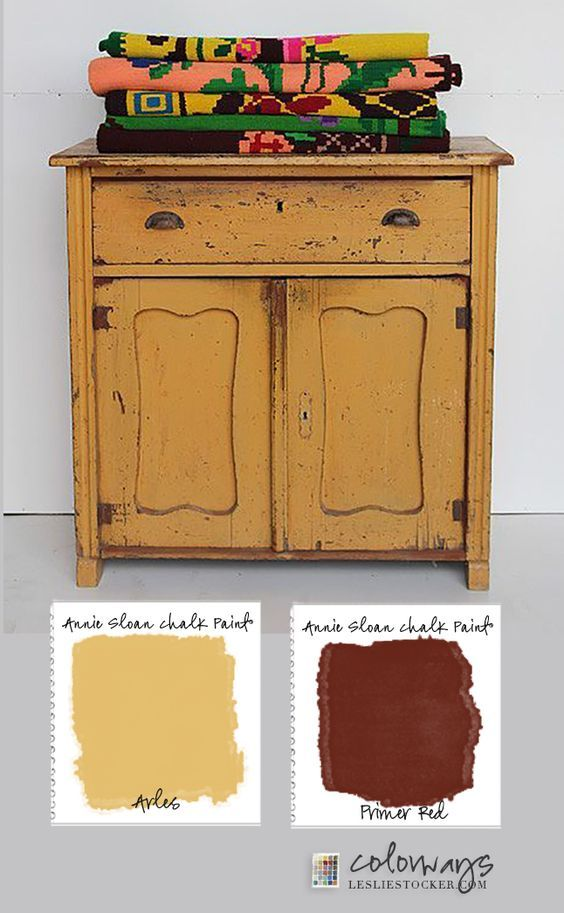 COLORWAYS with Leslie Stocker . Inspiration found on Pinterest. Annie Sloan Chalk Paint®, layer Arles over Primer Red, and distress