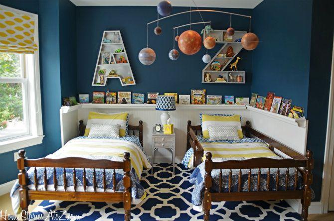 Boys shared bedroom makeover loaded with DIY projects {tutorials} via @Beth Hunter Homestoriesatoz.com