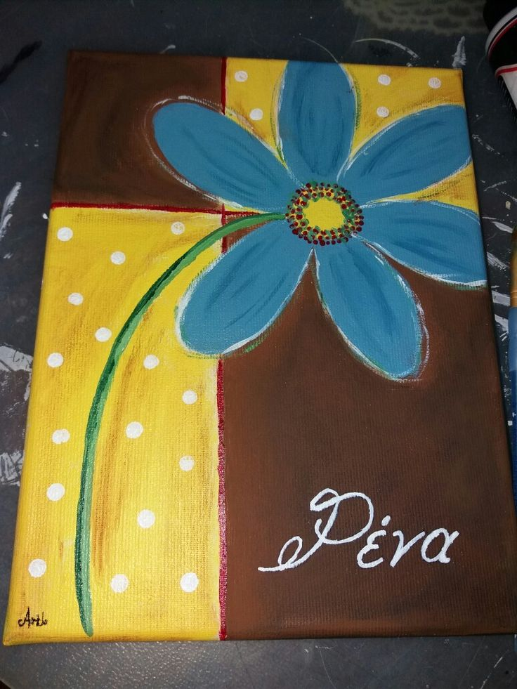 Acrylic paint with flower and name