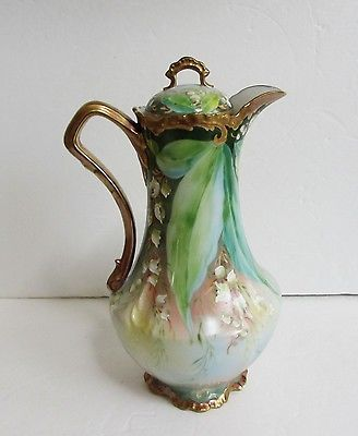 Exceptional-Antique-French-Limoges-Chocolate-Pot-Lily-of-the-Valley-France