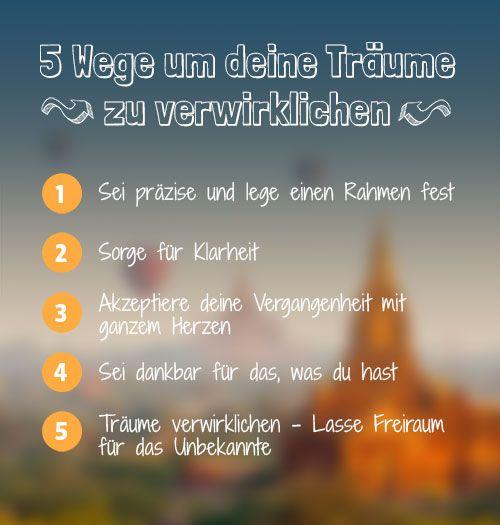 Träume verwirklichen in 5 Schritten