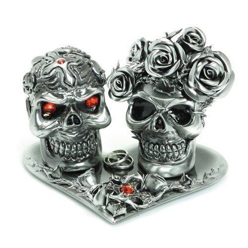 Silver Ceramic Skull Wedding Cake Topper Day of Dead Gothic AT00011